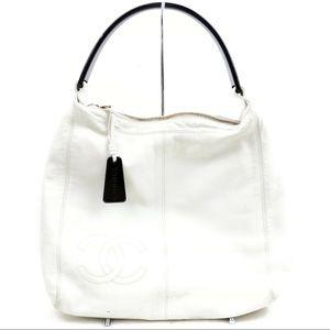 Authentic White Chanel CC Leather Handbag